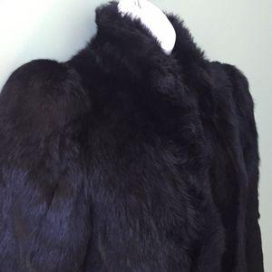 Black Rabbit Fur Belted Full Length Coat